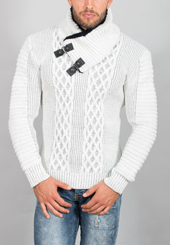 pull homme blanc gris 50350