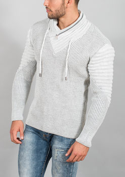 pull homme blanc gris 50160