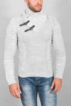 pull homme blanc gris  50300
