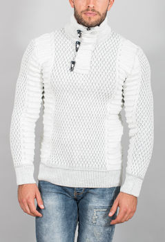pull homme blanc gris  50340