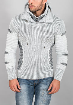 pull homme blanc chiné  50140