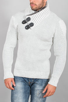 pull homme blanc gris  50270