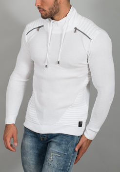 pull homme fin blanc R564