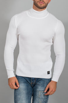 pull homme fin blanc col roulé 554