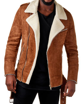 Perfecto homme camel aspect daim MF002