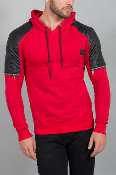 Sweat à capuche homme rouge 192