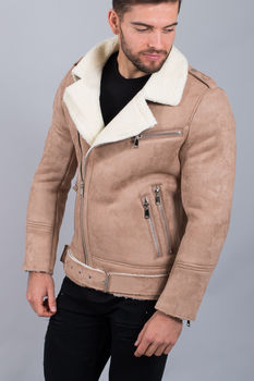 Perfecto homme beige aspect daim MF002