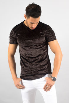 T-shirt homme noir aspect velours 150