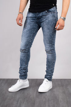 Jeans homme bleu chiné skinny 72213