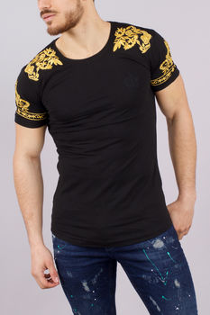 T-shirt homme noir patchs or