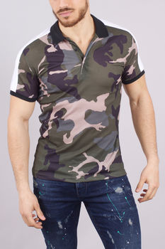 polo homme camouflage bandes blanches 114