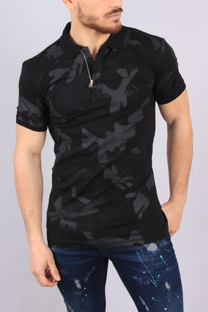 polo homme noir  camouflage 100