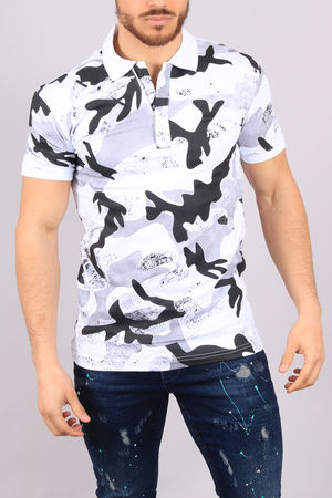 polo homme blanc  camouflage 100