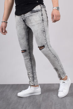 Jeans homme skinny gris  clair 72202