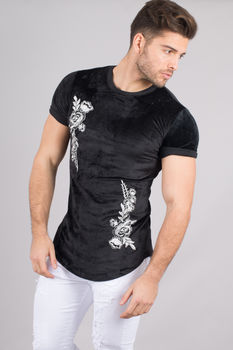 T-shirt homme noir aspect velours  559