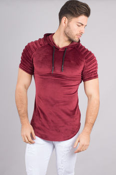 T-shirt homme bordeaux  capuche aspect velours 510