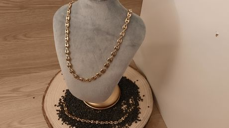 ENSEMBLE COLLIER ET BRACELET GRAIN DE CAFE DORE