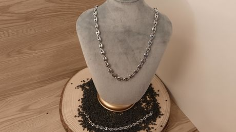ENSEMBLE COLLIER ET BRACELET GRAIN DE CAFE ARGENTE
