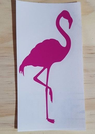 ADHESIF STICKERS FLAMANT ROSE  PATTE RELEVE