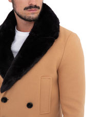 Veste caban long col fourrure