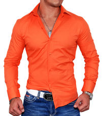 Chemise slim-fit orange