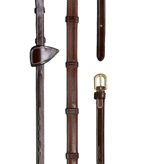 Rubber Reins 1/2 with 7 leather loops