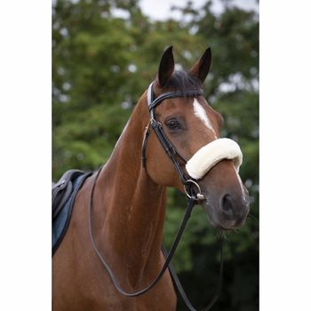 Real lambskin noseband or headpiece cushioning