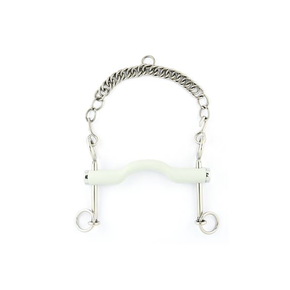 Dressage curb bit with tongue port snaffle