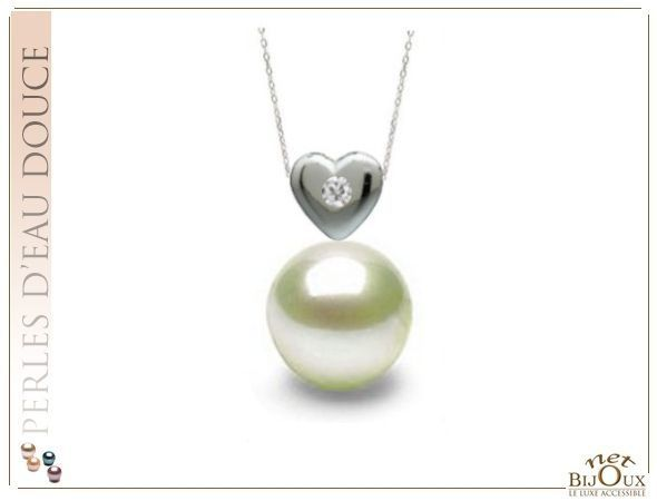 Pendentif Perle d'Eau Douce Blanche AAA - REF : AMOUR-AG-OD01