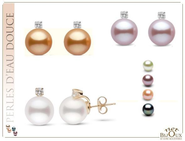 Boucles d'Oreilles Perles Diamants Or 18k BO-PIXIE-18K-OD