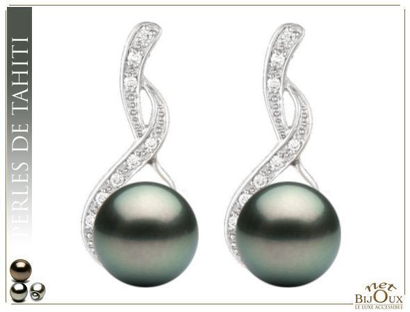Boucles d'Oreilles perles de Tahiti REF: BO-SEDUCTION-18K-TH
