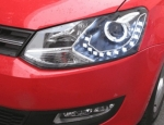 "PHARES A LEDS DEVIL EYES ""DRL LOOK"" VW POLO 6R 2009+ DC LINE EVO"