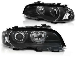 PHARES ANGEL EYES BMW E46 COUPE/CABRIOLET PHASE 1 AVEC ANNEAUX A LEDS (1999/03-2003)