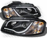 "PHARES A LEDS TUBE LIGHT ""DRL LOOK"" AUDI A3 8P PHASE 1/2 -avec clignotants standard- (2003/05-2008)"
