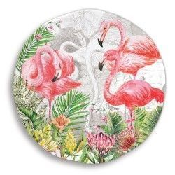 4 ASSIETTES A DESSERT FLAMINGO PALM