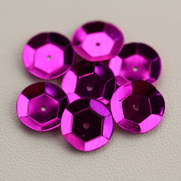 CUP SEQUINS 10 MM Fuchsia colour N°2016