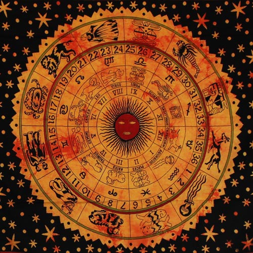Tenture Ethnique Horoscope (Orange)