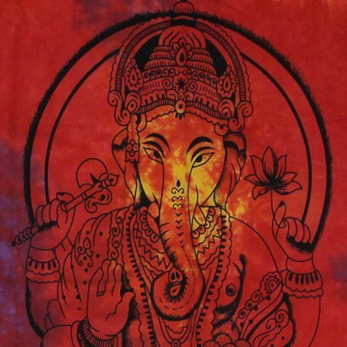 Tenture Indienne Ganesh (Multi Orange)