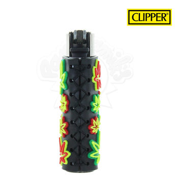 Briquet Clipper © Silicone Fluo Leaves 04