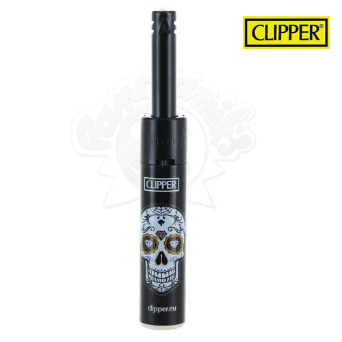 Briquet Clipper Mini Tube © Mexican Skull (Noir)