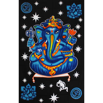 Tenture Indienne Ganesh Colors (Bleu)