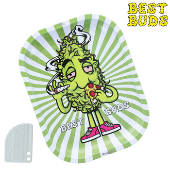 Plateau de roulage Best Buds © Green Pizza PM avec grinder