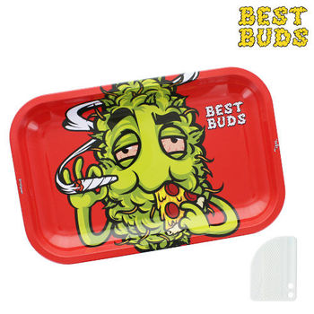 "Plateau de roulage Best Buds ""Red Pizza"" GM en métal avec grinder"