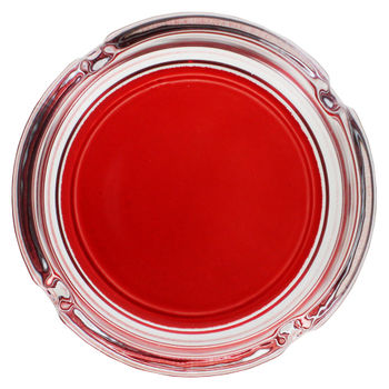 "Cendrier rond en Verre ""Colors"" (Rouge)"