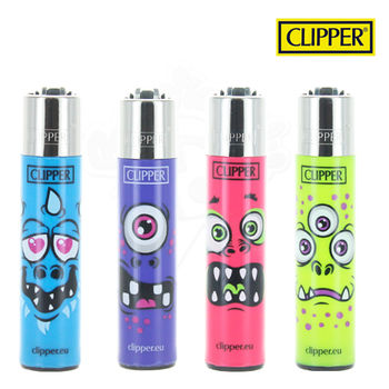 Lot de 4 Briquets Clipper © Monster Face