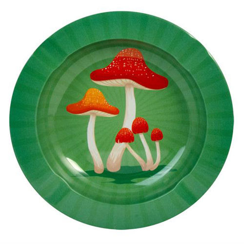 "Cendrier rond en métal ""Mushrooms Sunburst"""