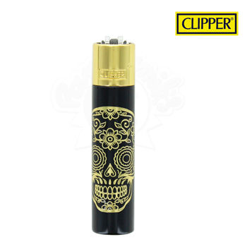 Briquet Clipper © Métal Mexican Skulls (Gold)