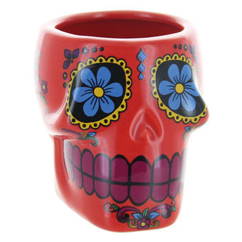 Verre Shooter Mexican Skull en céramique (Rouge)