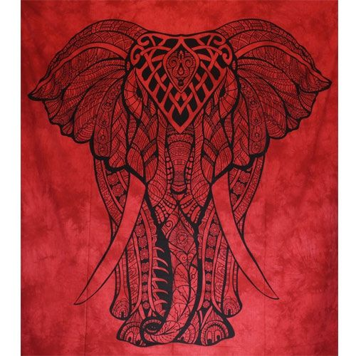 Tenture Giant Elephant (Rouge) Grand Format