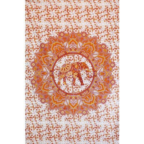 Tenture Mandala Elephant (Orange)
